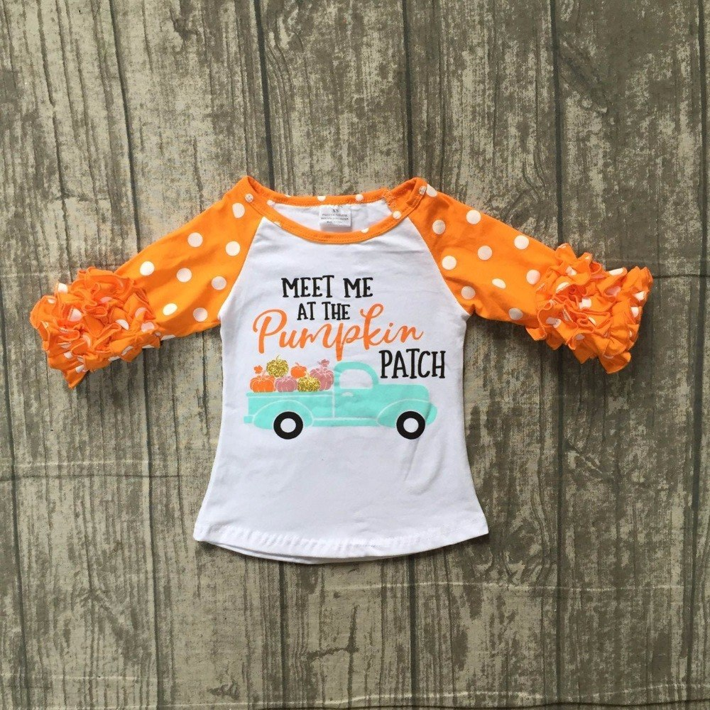 Halloween cotton raglans girls meet me at the pumpkin ruffle sleeve shirt