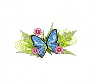 Blue Butterfly With Flowers Machine Embroidery Design
