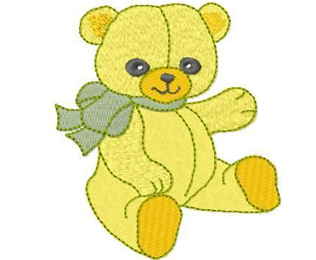 Yellow Bear Machine Embroidery Design